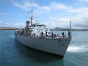HMS Ledbury arrives in Fishguard for the Harbour Centenary Celebrations