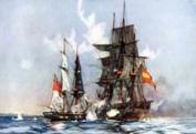 HMS Speedy, Cochrane's first ship, captures the Spanish frigate El Gamo, 1801