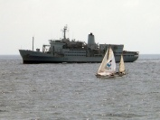 RFA Fort Austin with sailing yacht Gipsy Moth IV