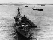 HMS Invincible at anchor off Port Stanley before leaving the Falkland Islands to return to the UK
