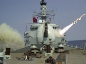 A harpoon is launched during a live firing exercise