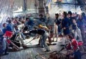 Gun-crew firing from quarter-deck of HMS Victory at the Battle of Trafalgar (Royal Naval Museum)