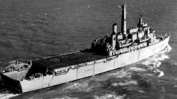 Assault ship HMS Fearless with stern dock & flight deck clearly visible