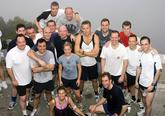 Here's me (on the back right in the red T shirt) with HMS Lancaster's Wardroom having just completed the infamous Rock Race