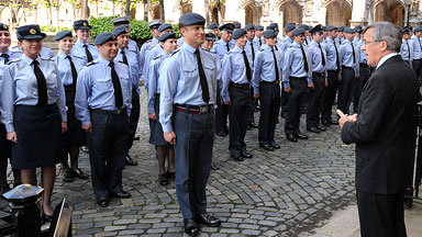 Gerald Howarth MP invites the 120 RAF personnel into the Palace of Westminster.