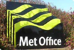 Photo of a three dimensional sign based on the Met Office logo