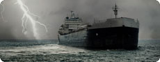 A cargo ship in a storm