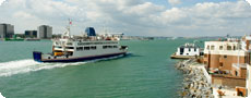 A ferry coming into Portsmouth harbour.