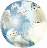 Cloudy sky globe graphic