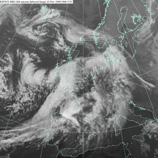 Infrared satellite 1500 UTC Friday 13 November 2009