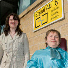 Bianca (left) with employer Sue outside Equal Ability