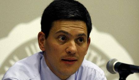 David Miliband at a press conference (Getty Images)