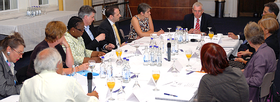 Peter Carter chairing the meeting, with Commissioner Anne Marie Rafferty on the far left. Photo courtesy of RCN