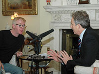 Chris Evans chatting to Tony Blair