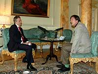 Tony Blair and Stephen Fry chat for a Downing Street podcast