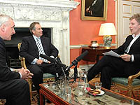 Chat showhost Patrick Kielty interviews Bertie Ahern and Tony Blair, 15 May 2007