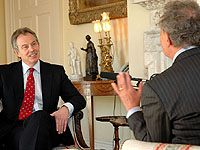 TV historian Simon Schama interviews Tony Blair for a Downing Street podcast