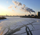 Ice on the Han river in Seoul, South Korea. (Getty images)