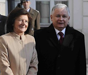 Polish President Lech Kaczynski and his wife; PA copyright