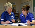 Two nurses looking at files and talking