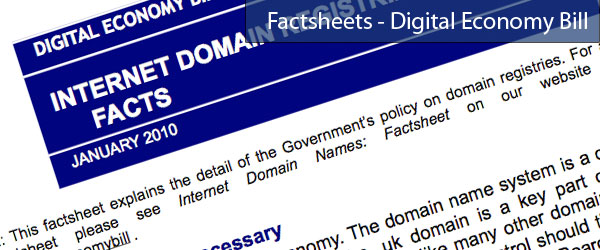 Digital Economy Bill: New factsheets and letters page