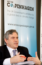 The UK Prime Minister Gordon Brown answers questions from the audience at the Road to Copenhagen launch event (Crown Copyright)