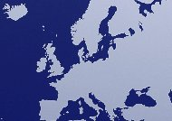 Blue colored world map: Europe. Credit: John Lamb (Getty)