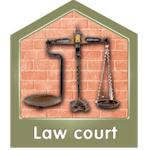 Law court, showing scales of justice.