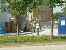 Builders at Ingress Park, Greenhithe