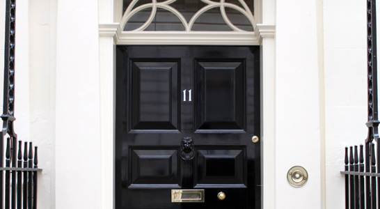 The door of Number 11 Downing Street, the residence of the Chancellor of the Exchequer