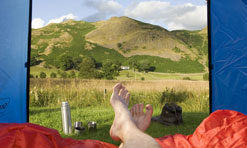 Looking out at Dale Bottom Farm campsite, near Keswick in the Lake District