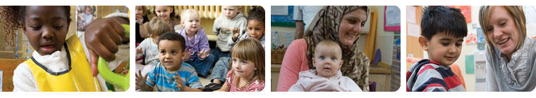 a range of images of children and teachers