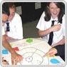 key stage 3 pupils work on a 'mind map'-like piece of work