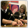 Pupils construct three-dimensional object using pasta and marshmallows