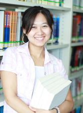 A female student in the library