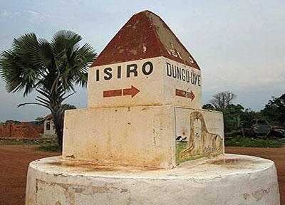 Isiro signpost, Congo (Rachel Brass)