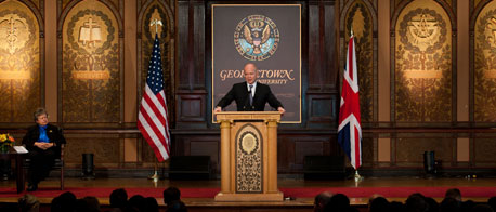 Foreign Secretary William Hague delivers a speech on international security at Georgetown University on 17 November 2010 (© Crown Copyright)
