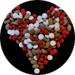 Image of heart made of pills