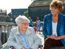 Two women on Castleford Footbridge