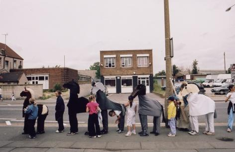 A group of children made horse costumes and photographed themselves in the area. Photo by MUF architecture/art