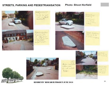 The residents' research project: collating views about streets, parking and pedestrianisation in Horfield, Bristol. Photo by North Prospect residents group / Plymouth Community Homes / Architecture Centre Devon & Cornwall