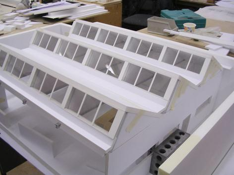 Model of roof showing north facing dormers
