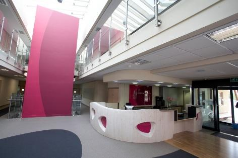 Reception area and atrium with bright pink lift. Photo by Paul White