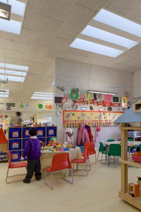 Rooflights allow sunlight into the large open plan nursery