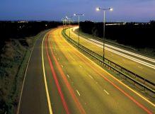 car lights on road