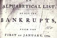 Detail from newspaper list of bankrupts