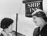 Two women outside The Ship Inn 1936. Catalogue reference: NSC27/7