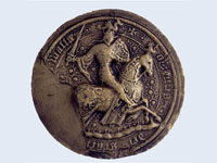 The seal of Owain Glyn Dwr, on his 1404 treaty with Charles VI of France