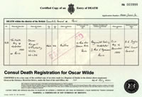The Consular death certificate for Oscar Wilde