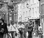 People walking through a high street